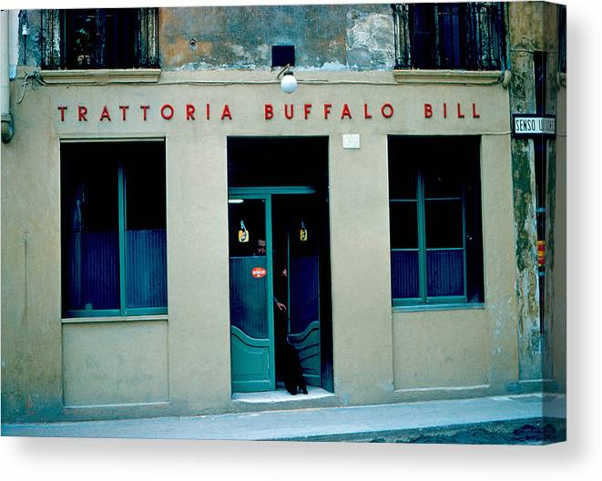 Vicenza Canvas Print featuring the photograph Trattoria Buffalo Bill 1962 by Cumberland Warden