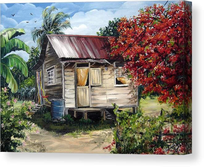 Landscape Paintings Tropical Paintings Trinidad House Paintings House Paintings Country Painting Trinidad Old Wood House Paintings Flamboyant Tree Paintings Caribbean Paintings Greeting Card Paintings Canvas Print Paintings Poster Art Paintings Canvas Print featuring the painting Country Life by Karin Dawn Kelshall- Best