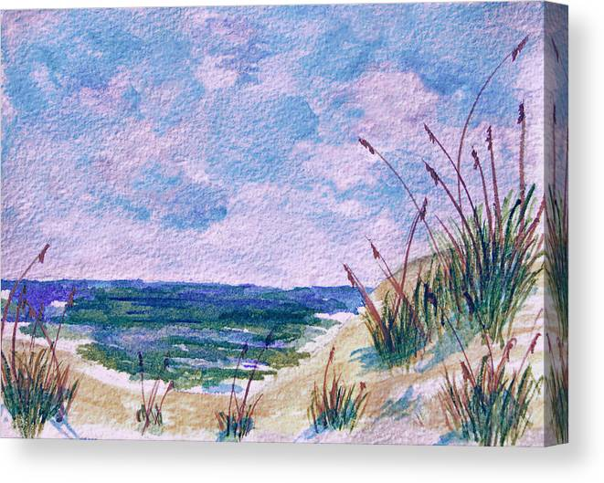 Twilight Canvas Print featuring the painting Twilight Beach by Donna Proctor