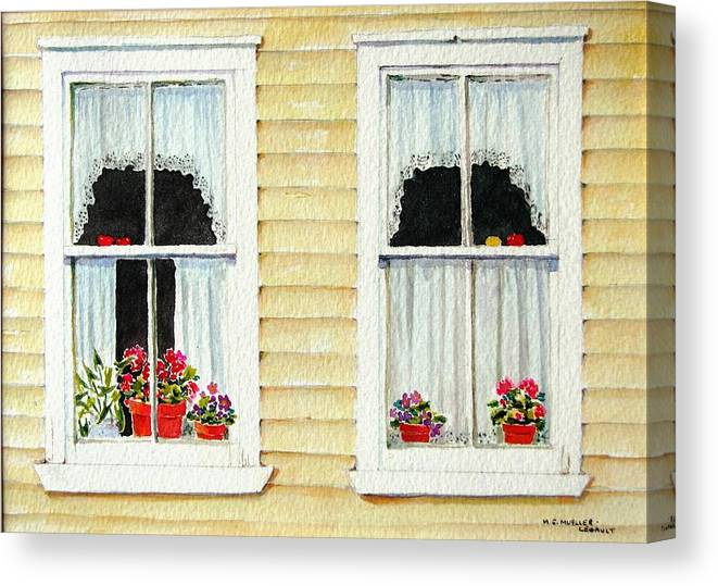 Windows Canvas Print featuring the painting Twin Peeks by Mary Ellen Mueller Legault