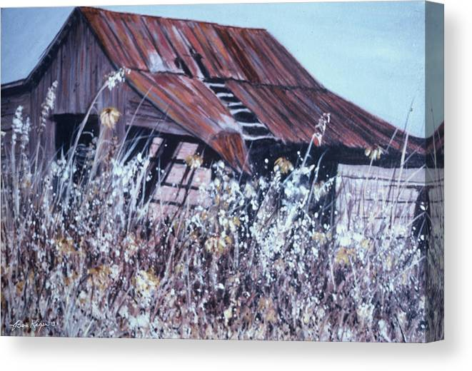 Rustic Canvas Print featuring the painting Barn in Sunlight by Ben Kiger