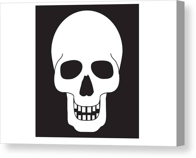 Horizontal Canvas Print featuring the digital art Black And White Digital Illustration Representing Human Skull by Dorling Kindersley