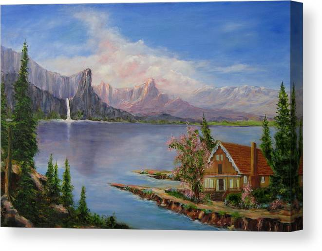 Moutains Canvas Print featuring the painting Cabin with a View by Thomas Restifo