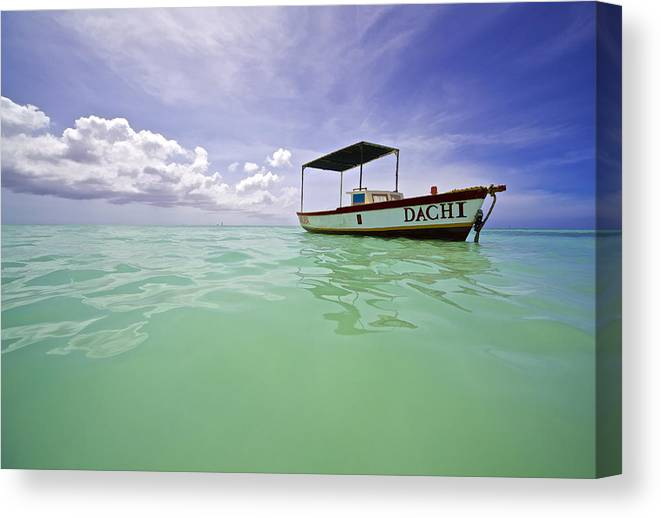 Aqua Canvas Print featuring the photograph Colorful Fishing Boat of the Caribbean by David Letts