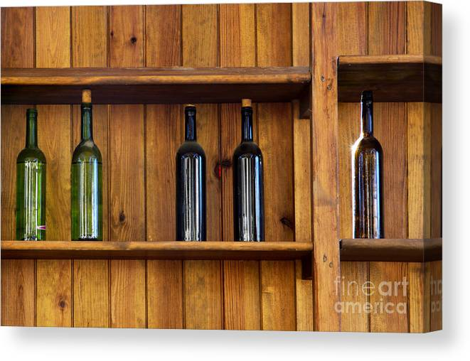 Abandoned Canvas Print featuring the photograph Five Bottles by Carlos Caetano