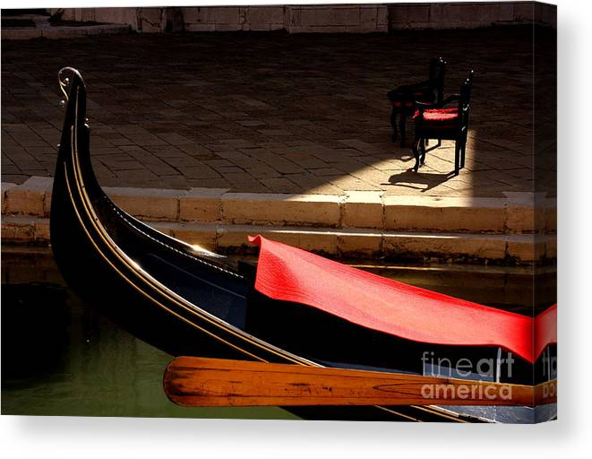 Venice Canvas Print featuring the photograph Gondola with Chairs by Michael Henderson