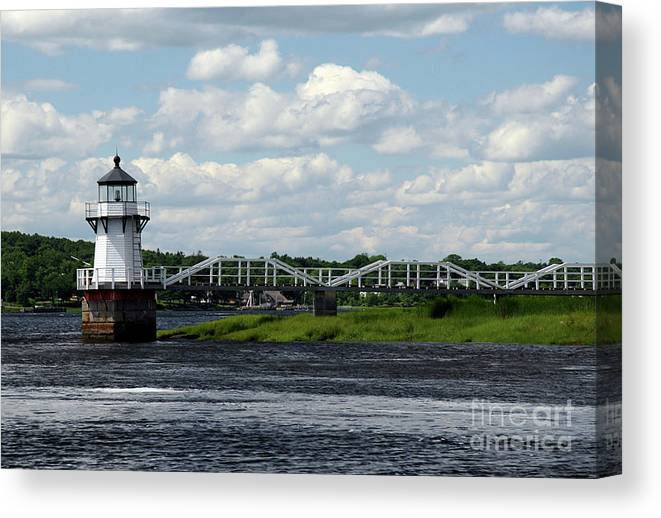 Doubling Point Light Canvas Print featuring the photograph Lace Lighthouse by Brenda Giasson