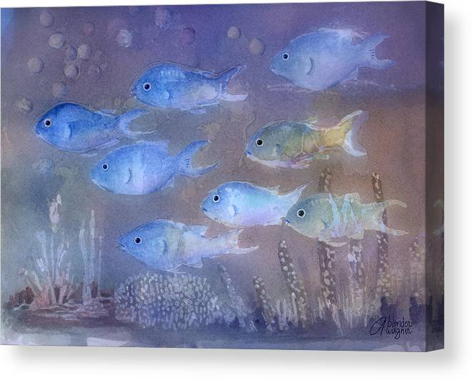 Fish Canvas Print featuring the painting On A Mission by Arline Wagner