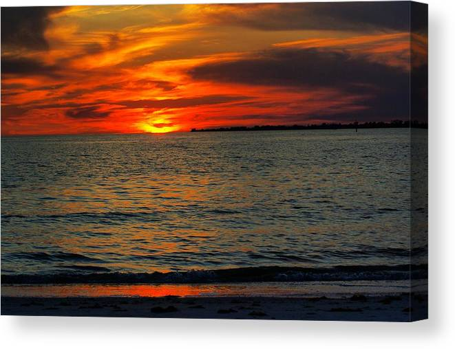 Sunset Canvas Print featuring the photograph Red Reflections by Florene Welebny