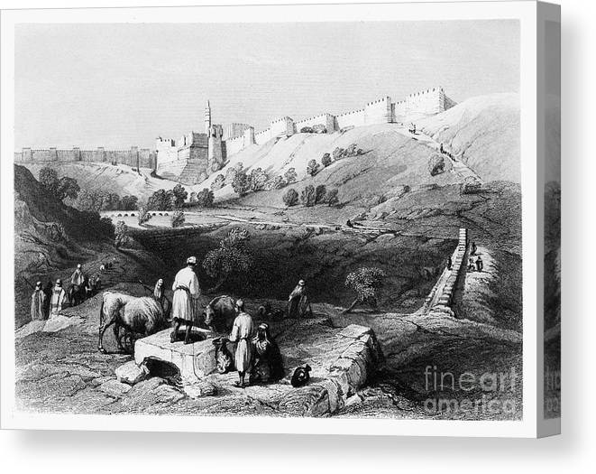 1843 Canvas Print featuring the photograph Spring Of Gihon by Granger