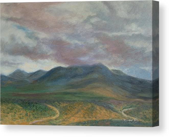 Landscape Canvas Print featuring the painting Storm Clouds Over the Ortiz Mountains by Phyllis Tarlow