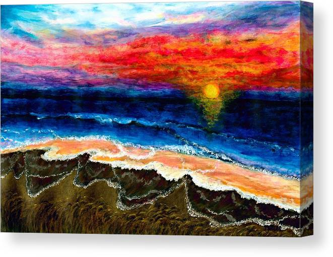 Sunset Canvas Print featuring the painting Sunset After the Storm by Tanna Lee M Wells