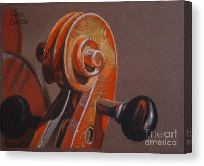 Violin Canvas Print featuring the pastel The Scroll and Pegs by Keith Gantos