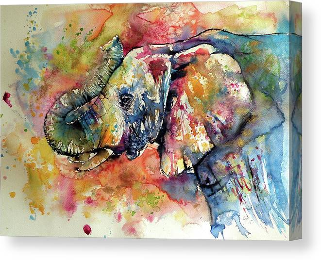 Elephant Canvas Print featuring the painting Big colorful elephant by Kovacs Anna Brigitta