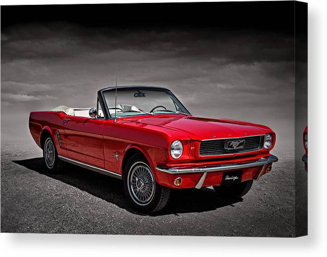 Mustang Canvas Print featuring the digital art 1966 Ford Mustang Convertible by Douglas Pittman