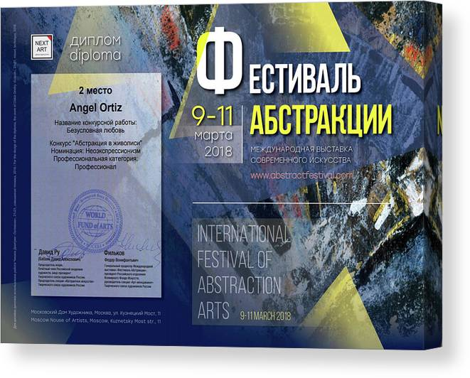 Art Festival In Moscow Canvas Print featuring the painting 2nd place in Art Festival in Moscow by Angel Ortiz