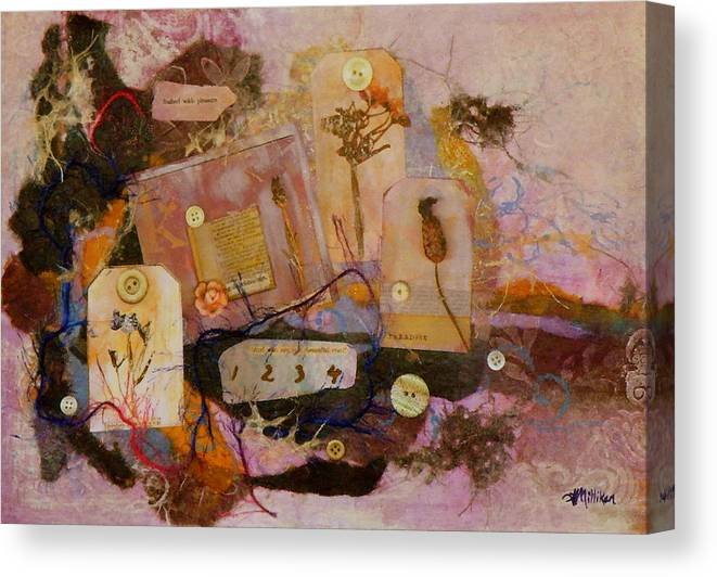 Mixed Media Canvas Print featuring the painting 7 Buttons by Tara Milliken