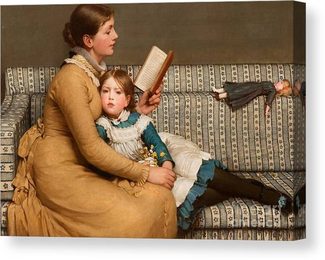 Alice In Wonderland Canvas Print featuring the painting Alice in Wonderland by George Dunlop Leslie