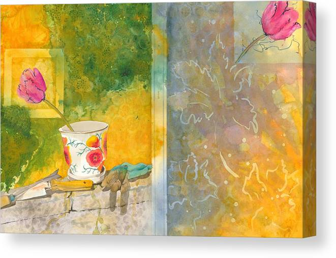 Garden Canvas Print featuring the painting Along The Garden Wall by Jean Blackmer