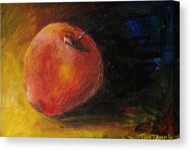 Apple Canvas Print featuring the painting An Apple - A Solitude by Jun Jamosmos