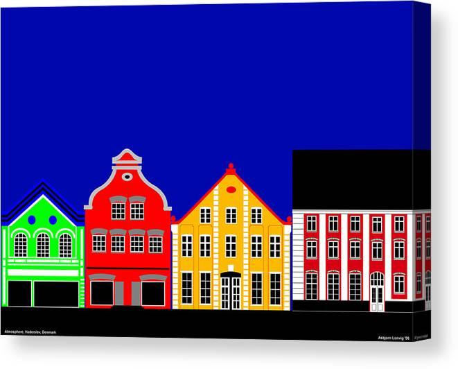 Atmosphere Canvas Print featuring the digital art Atmosphere Haderslev Denmark by Asbjorn Lonvig