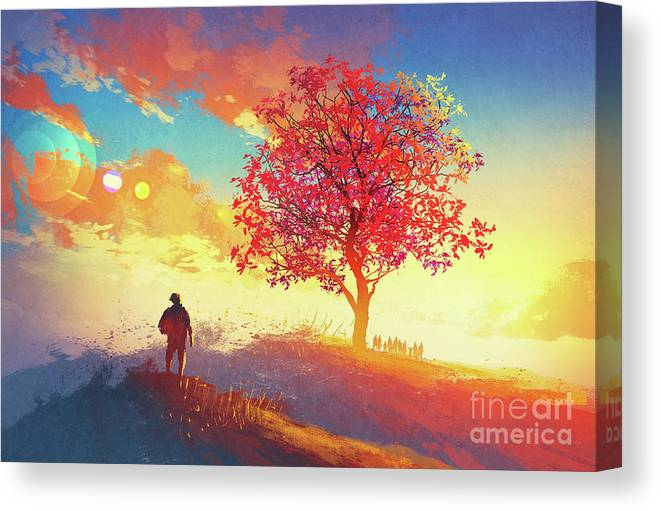 Abstract Canvas Print featuring the painting Autumn Sunrise by Tithi Luadthong
