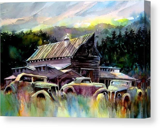 Barn Fresh Cabriolets 37 Fords...barn Canvas Print featuring the painting Barn Fresh Cabriolets by Ron Morrison
