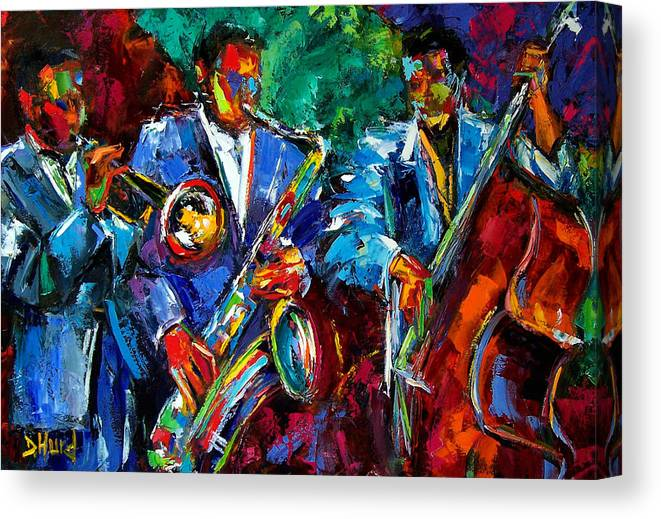 Jazz Art Canvas Print featuring the painting Blue Jazz by Debra Hurd