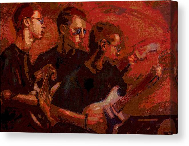 Portrait Canvas Print featuring the painting Blue Shades by Jean Hildebrant