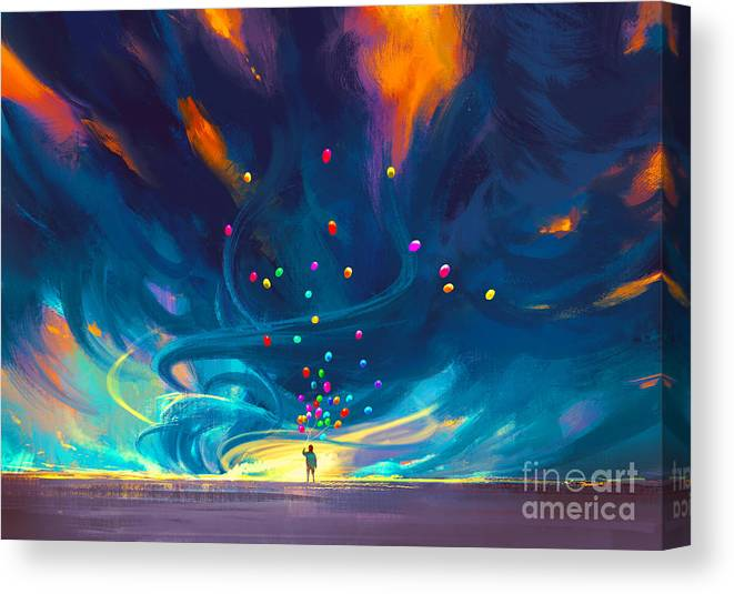 Abstract Canvas Print featuring the painting Blue Tornado by Tithi Luadthong