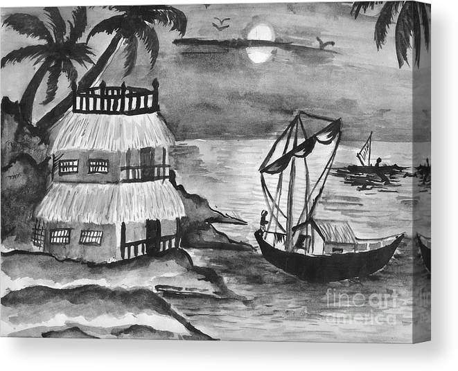 Nature Canvas Print featuring the painting Boat Sailing In Moon Light by Tanmay Singh