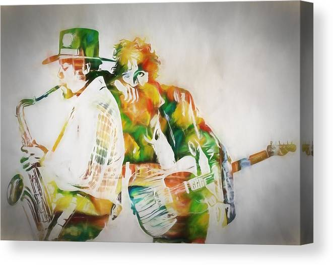 Bruce And The Big Man Canvas Print featuring the painting Bruce And The Big Man by Dan Sproul