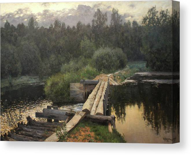Isaac Levitan Canvas Print featuring the painting By the Whirlpool by Isaac Levitan