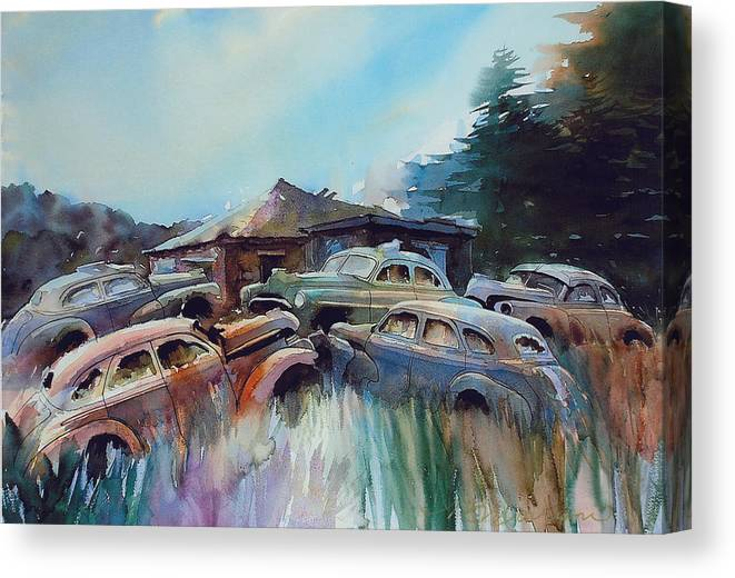 Chevs Canvas Print featuring the painting Chevs on the Slide by Ron Morrison
