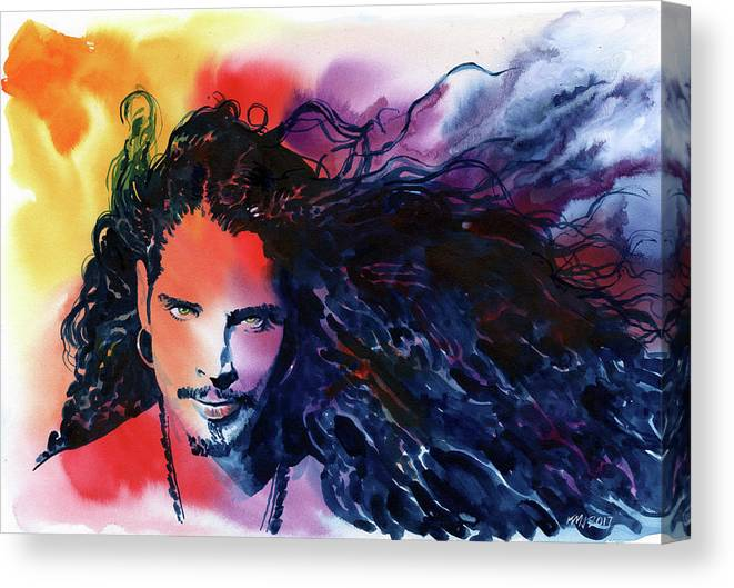 Soundgarden Canvas Print featuring the painting Chris Cornell by Ken Meyer jr