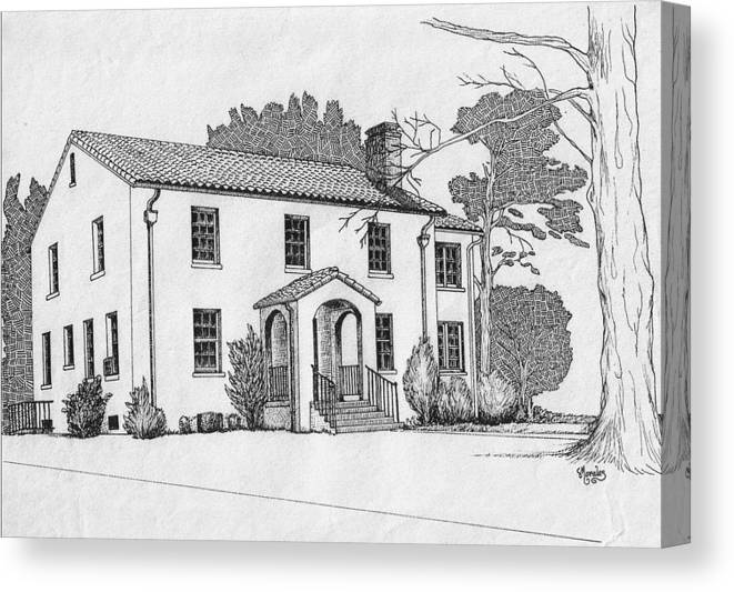 Drawing - Pen And Ink Canvas Print featuring the drawing Colonel Quarters 2 - Fort Benning GA by Marco Morales