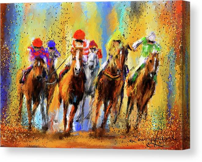 Horse Racing Canvas Print featuring the painting Colorful Horse Racing Impressionist Paintings by Lourry Legarde