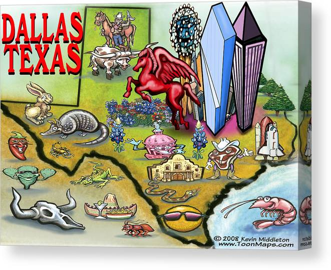 Dallas Canvas Print featuring the digital art Dallas Texas Cartoon Map by Kevin Middleton