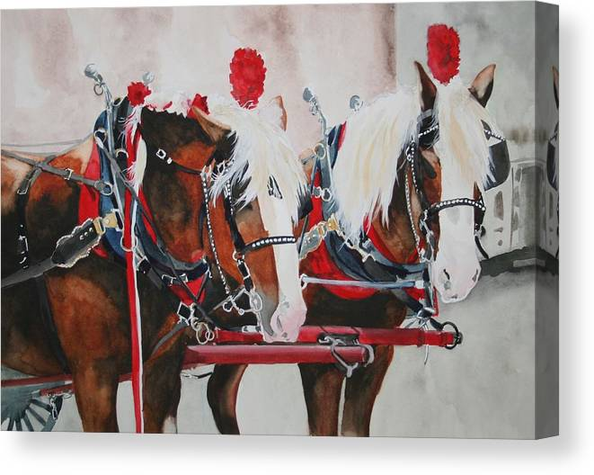 Horse Canvas Print featuring the painting Dandy Duo by Jean Blackmer