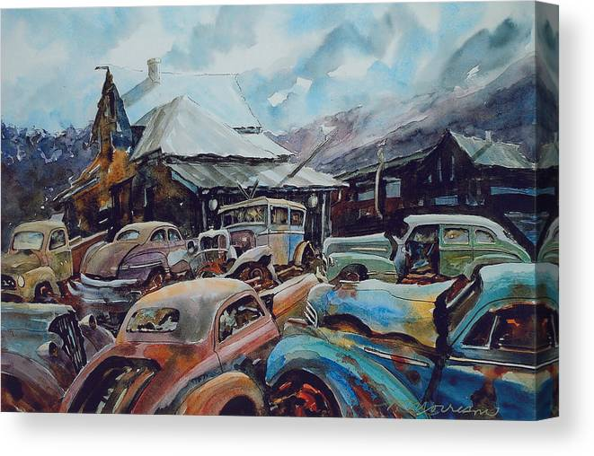 Cars Canvas Print featuring the painting Derelicts at Hillsboro by Ron Morrison