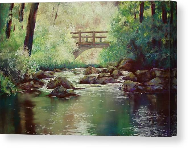 Landscape Canvas Print featuring the pastel Early Morning at Gulpha Gorge by Marlene Gremillion