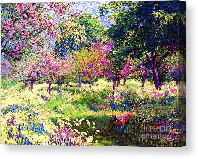 Floral Canvas Print featuring the painting Echoes from Heaven, Spring Orchard Blossom and Pheasant by Jane Small