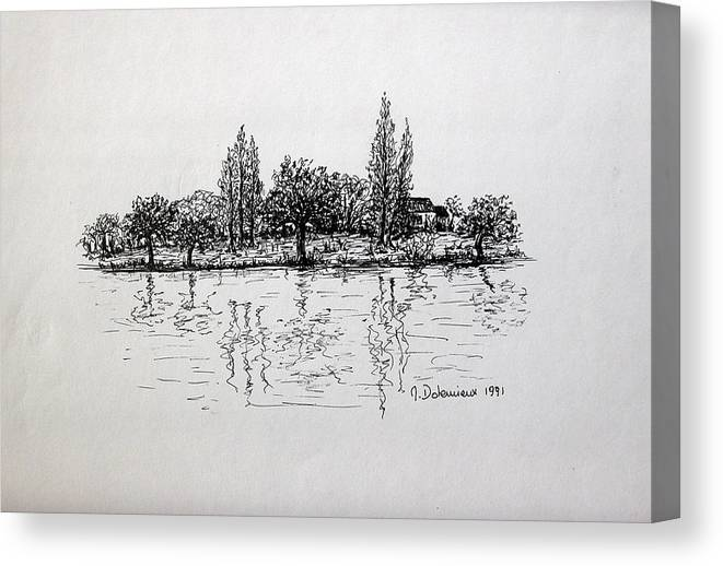 Landscape Canvas Print featuring the drawing Etang by Muriel Dolemieux