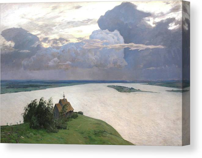 Isaac Levitan Canvas Print featuring the painting Eternal Peace by Isaac Levitan