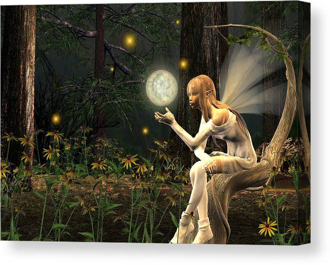 Fairy Fae Fairies Magic Fantasy Canvas Print featuring the digital art Fairy Light by Lisa Roy