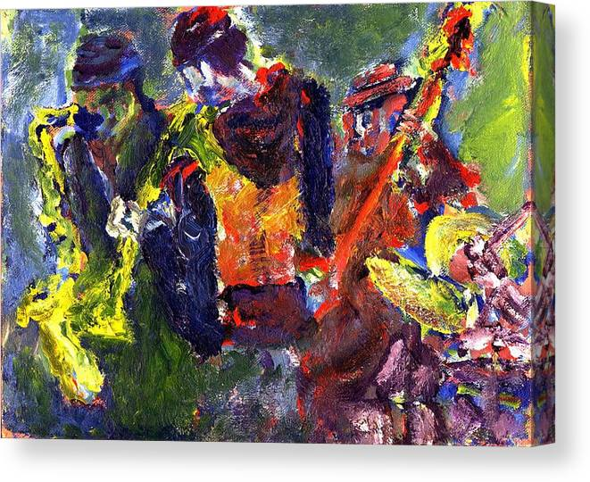 Live Jazz Quartet Canvas Print featuring the painting Faruq and Skeeter by Don Thibodeaux