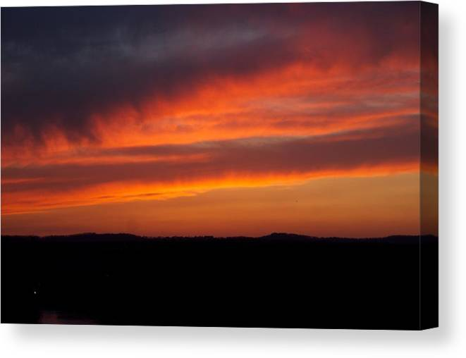 Red Sunset Canvas Print featuring the photograph Firey Skies by Toni Berry