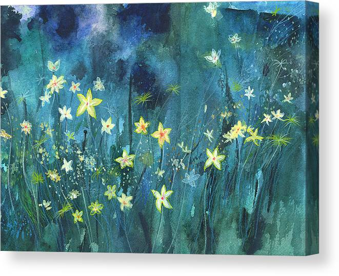 Landscape Canvas Print featuring the painting Flowers N Breeze by Anil Nene