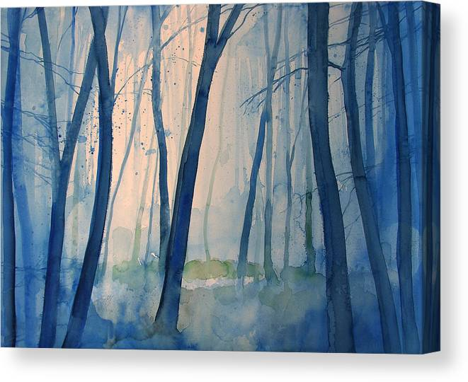 Tree Canvas Print featuring the painting Fog in the forest by Alessandro Andreuccetti