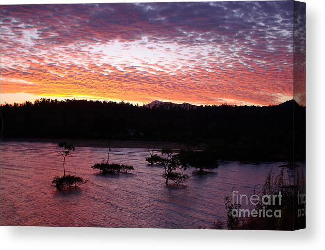 Landscape Canvas Print featuring the photograph Four Elements Sunset Sequence 3 Coconuts Qld by Kerryn Madsen - Pietsch
